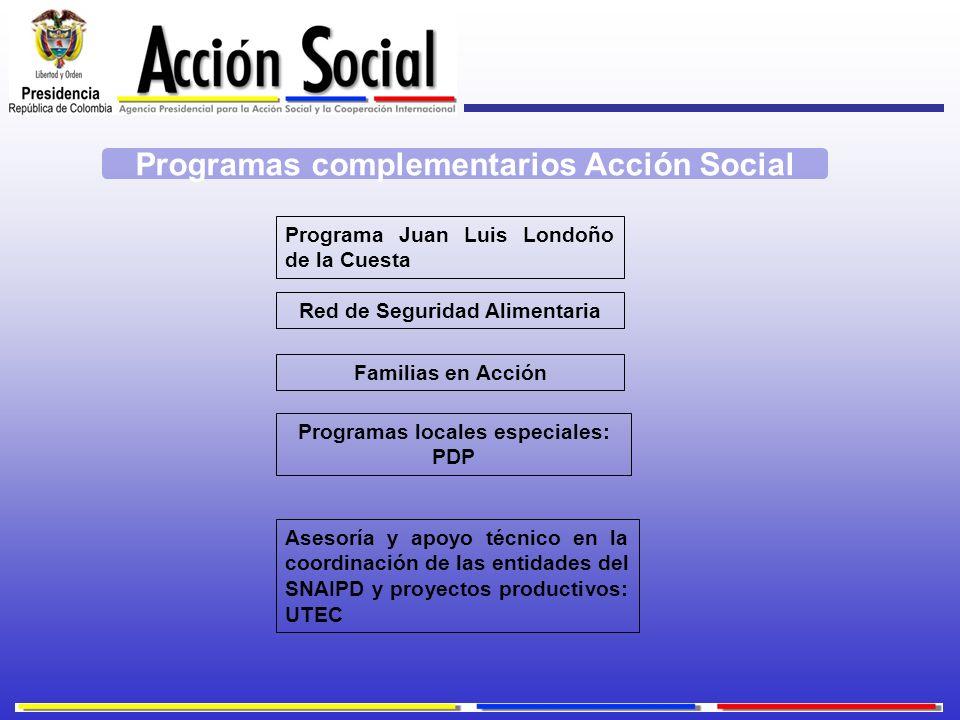 Programa Juan Luis Londoño de la Cuesta Familias en Acción Programas locales especiales: PDP Asesoría y apoyo técnico en la coordinación de las entida