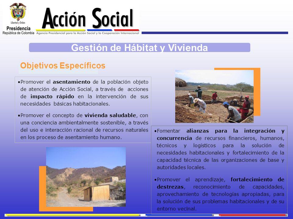 Promover el asentamiento de la población objeto de atención de Acción Social, a través de acciones de impacto rápido en la intervención de sus necesid
