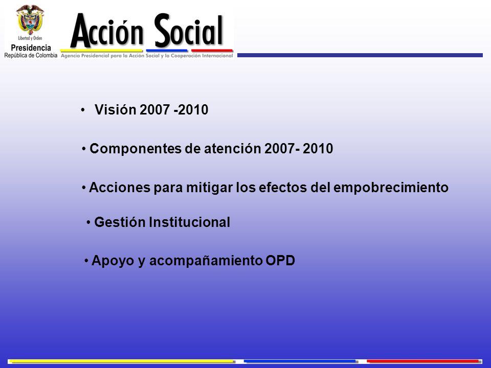 Visión 2007 -2010 Apoyo y acompañamiento OPD Componentes de atención 2007- 2010 Acciones para mitigar los efectos del empobrecimiento Gestión Instituc