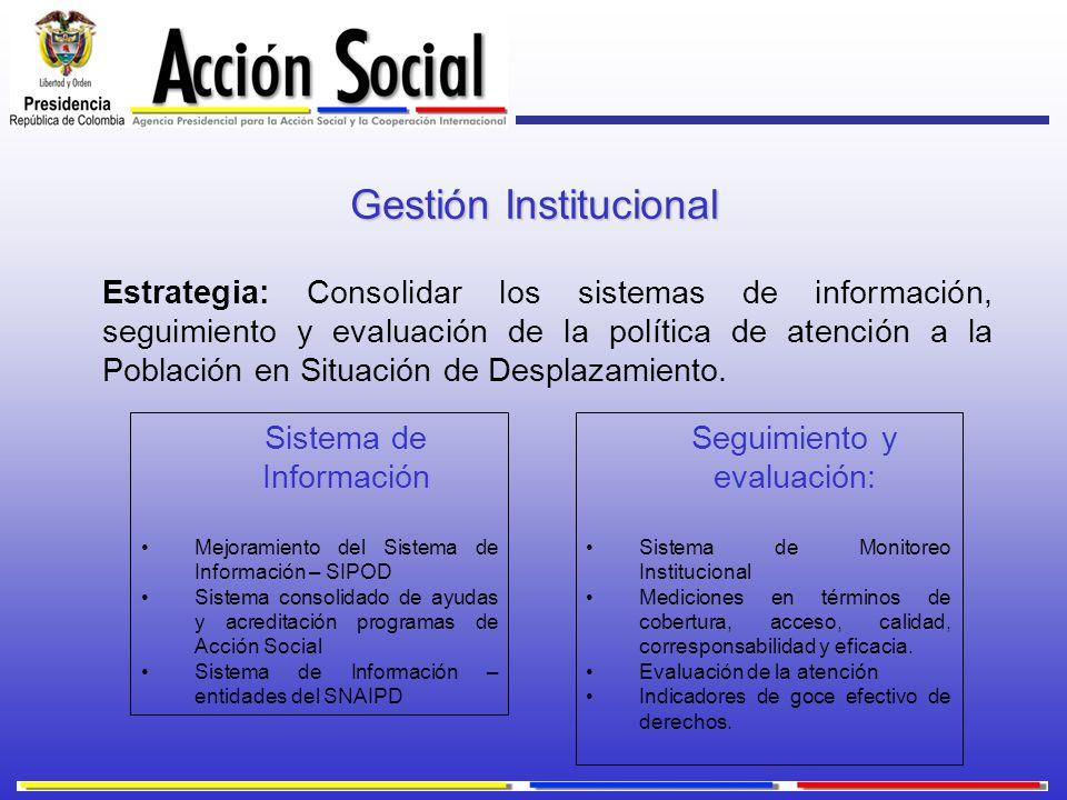 Gestión Institucional Estrategia: Consolidar los sistemas de información, seguimiento y evaluación de la política de atención a la Población en Situac