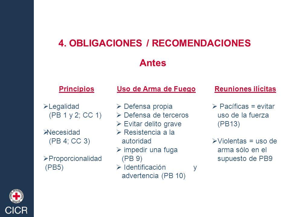 Principios Legalidad (PB 1 y 2; CC 1) Necesidad (PB 4; CC 3) Proporcionalidad (PB5) Uso de Arma de Fuego Defensa propia Defensa de terceros Evitar del