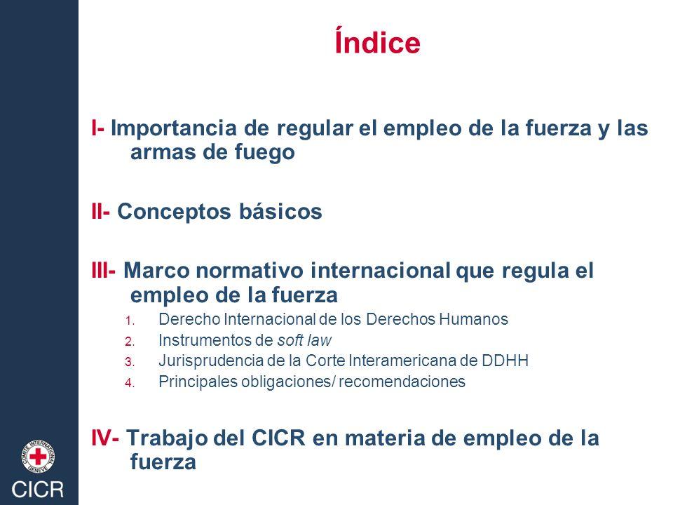 Índice I- Importancia de regular el empleo de la fuerza y las armas de fuego II- Conceptos básicos III- Marco normativo internacional que regula el em