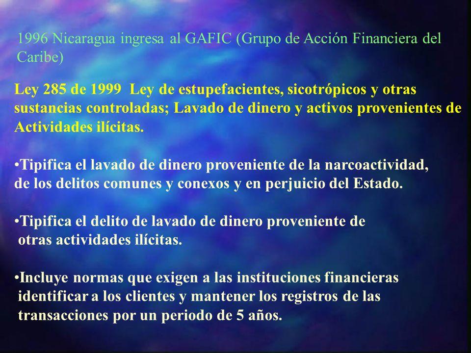 Ley 285 de 1999 Ley de estupefacientes, sicotrópicos y otras sustancias controladas; Lavado de dinero y activos provenientes de Actividades ilícitas.