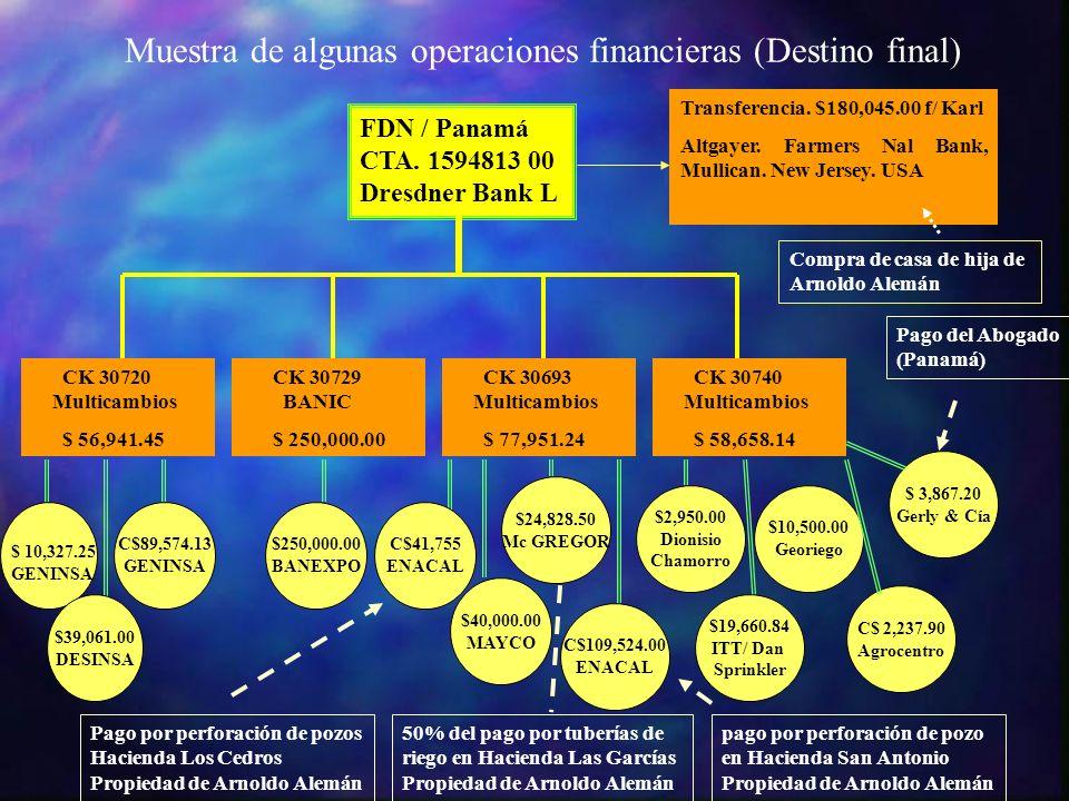Muestra de algunas operaciones financieras (Destino final) FDN / Panamá CTA. 1594813 00 Dresdner Bank L CK.30720. Multicambios $ 56,941.45 CK.30729. B