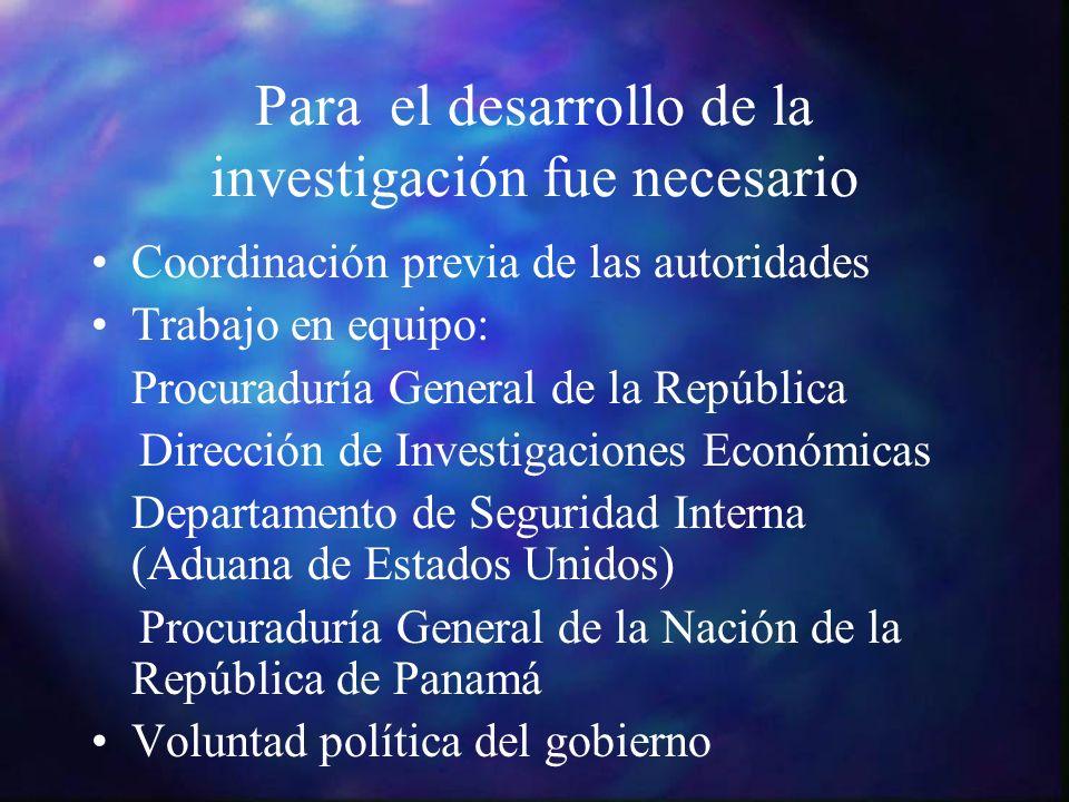 Para el desarrollo de la investigación fue necesario Coordinación previa de las autoridades Trabajo en equipo: Procuraduría General de la República Di
