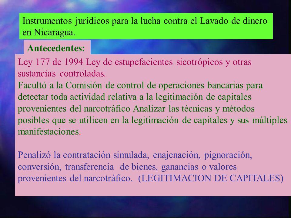Instrumentos jurídicos para la lucha contra el Lavado de dinero en Nicaragua. Antecedentes: Ley 177 de 1994 Ley de estupefacientes sicotrópicos y otra