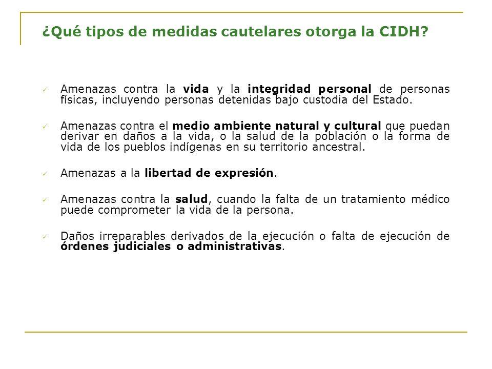 ¿Qué tipos de medidas cautelares otorga la CIDH.