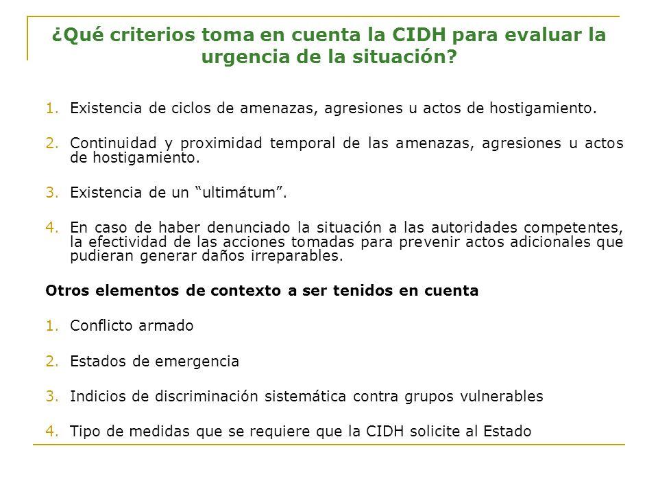 ¿Qué criterios toma en cuenta la CIDH para evaluar la urgencia de la situación.