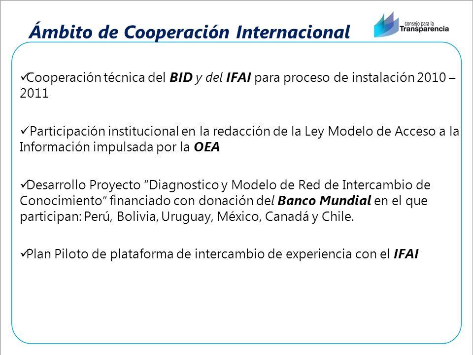Ámbito de Cooperación Internacional Cooperación técnica del BID y del IFAI para proceso de instalación 2010 – 2011 Participación institucional en la redacción de la Ley Modelo de Acceso a la Información impulsada por la OEA Desarrollo Proyecto Diagnostico y Modelo de Red de Intercambio de Conocimiento financiado con donación del Banco Mundial en el que participan: Perú, Bolivia, Uruguay, México, Canadá y Chile.