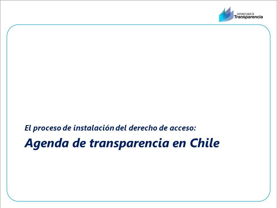 Agenda de transparencia en Chile El proceso de instalación del derecho de acceso: