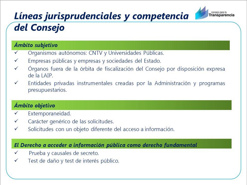 Líneas jurisprudenciales y competencia del Consejo Ámbito subjetivo Organismos autónomos: CNTV y Universidades Públicas. Empresas públicas y empresas