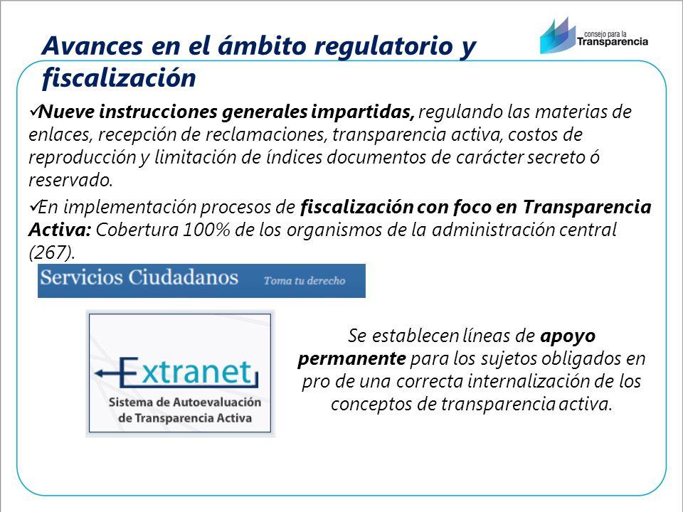 Avances en el ámbito regulatorio y fiscalización Nueve instrucciones generales impartidas, regulando las materias de enlaces, recepción de reclamacion