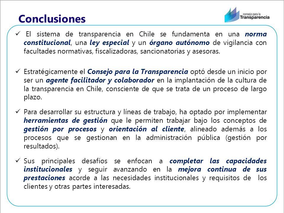 Conclusiones El sistema de transparencia en Chile se fundamenta en una norma constitucional, una ley especial y un órgano autónomo de vigilancia con facultades normativas, fiscalizadoras, sancionatorias y asesoras.