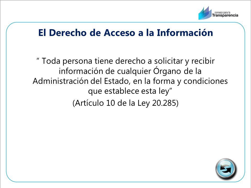 El Derecho de Acceso a la Información Toda persona tiene derecho a solicitar y recibir información de cualquier Órgano de la Administración del Estado, en la forma y condiciones que establece esta ley (Artículo 10 de la Ley 20.285)