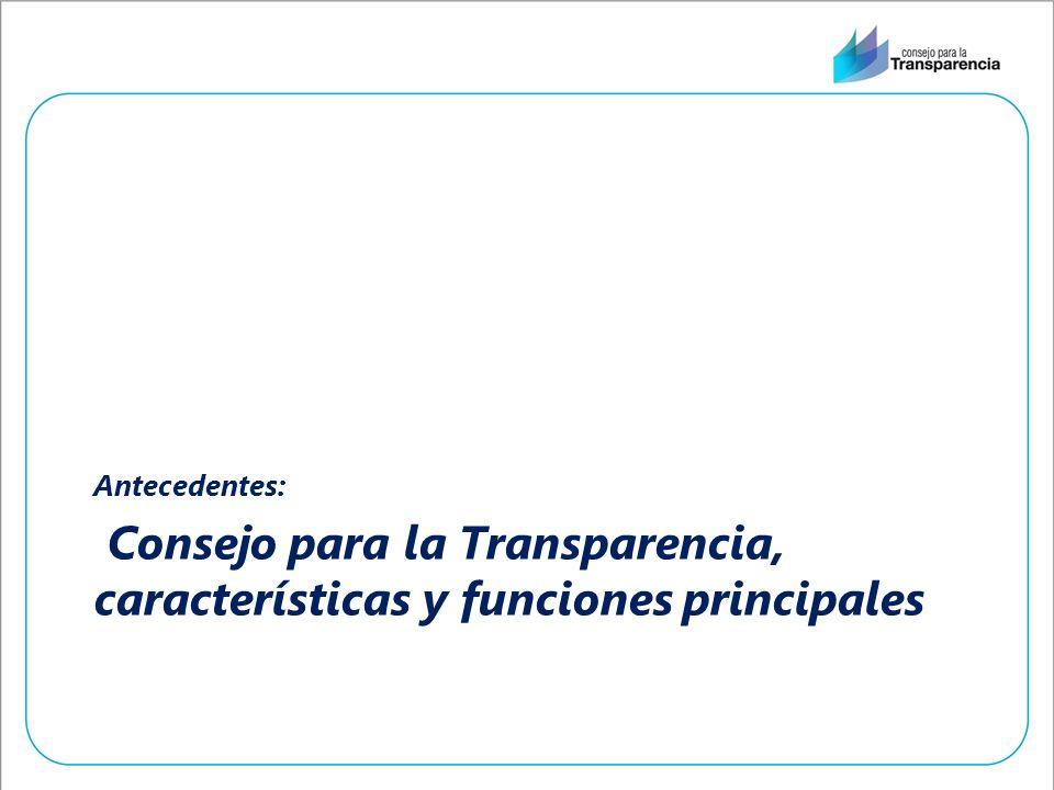 Consejo para la Transparencia, características y funciones principales Antecedentes: