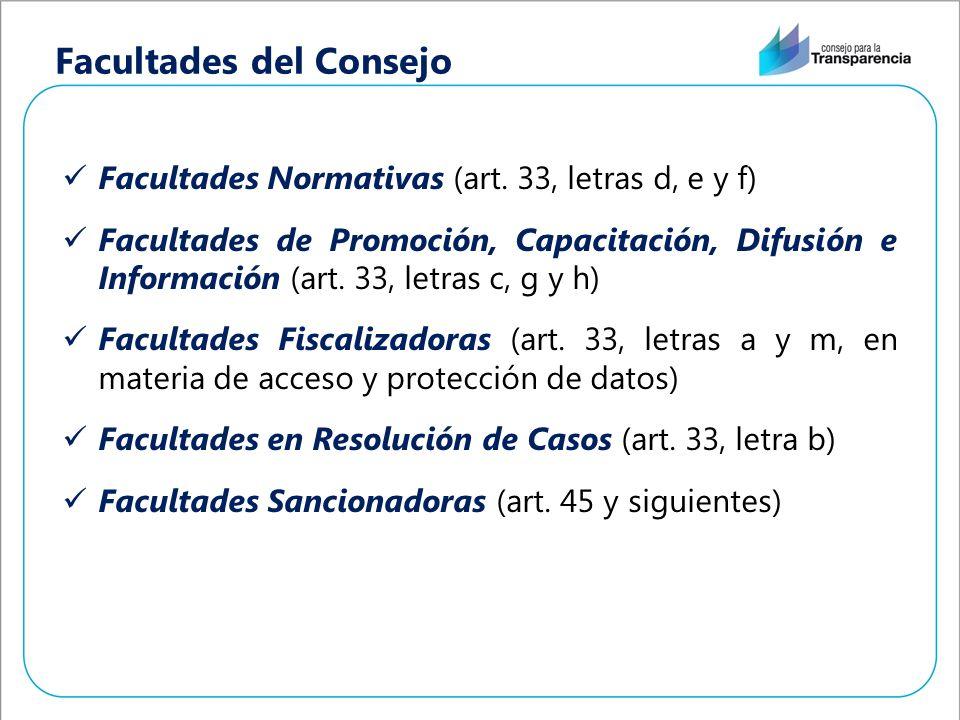 Facultades del Consejo Facultades Normativas (art. 33, letras d, e y f) Facultades de Promoción, Capacitación, Difusión e Información (art. 33, letras