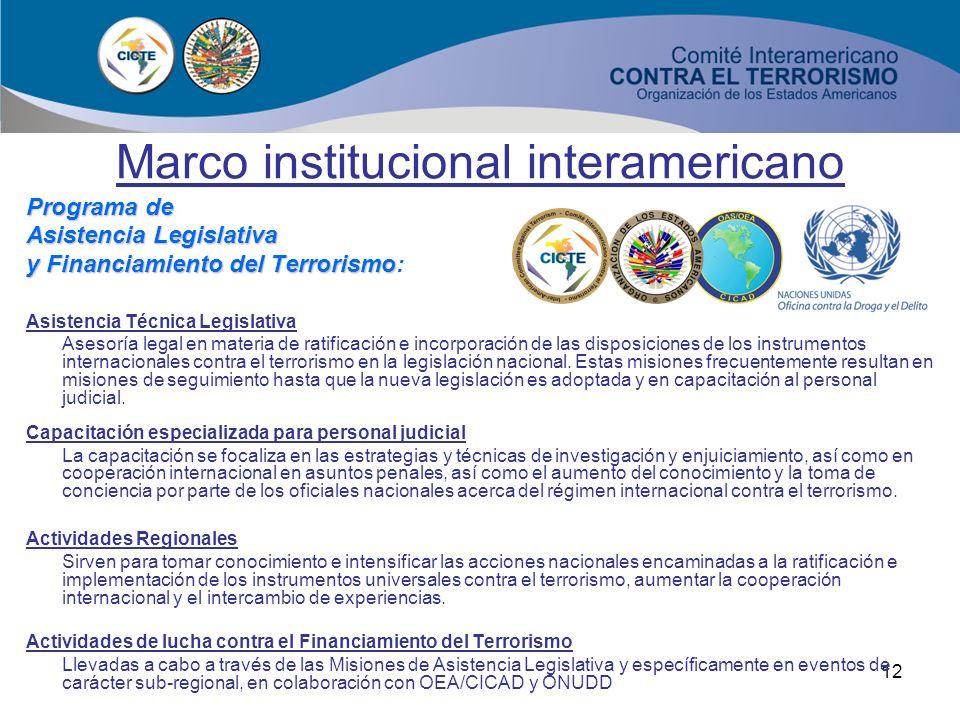 11 Programas CICTE Controles fronterizos Seguridad aeroportuaria Seguridad portuaria Documentos fraudulentos y prevención del fraude Inmigración y adu