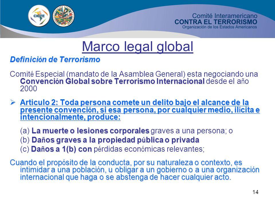 13 Marco legal global no hay una definici ó n Todav í a no hay una definici ó n de Terrorismo delitostipificaci ó n como delitos de estas conductas Lo