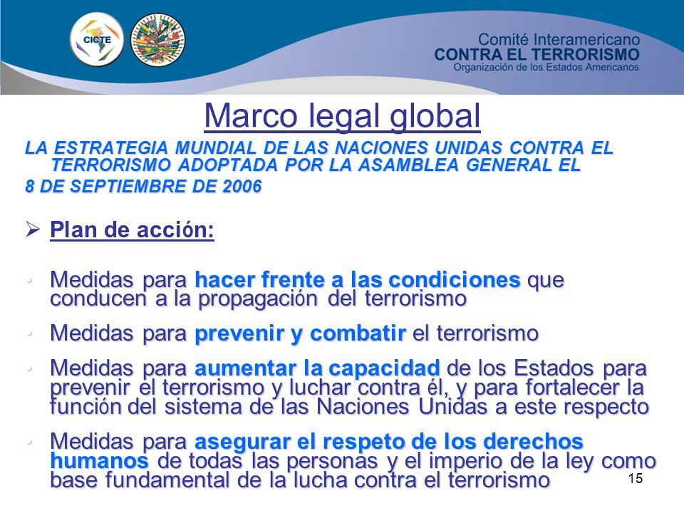 14 Marco legal global Definici ó n de Terrorismo Convenci ó n Global sobre Terrorismo Internacional Comit é Especial (mandato de la Asamblea General)