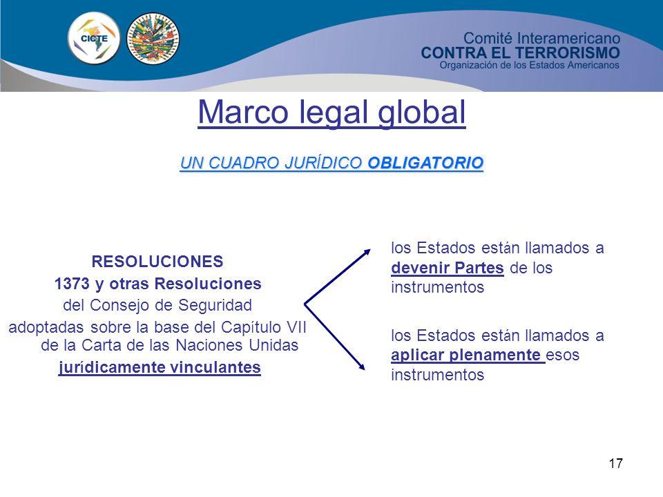 16 Marco legal global ASISTENCIA TÉCNICA DE LA UNODC Resolución 1267 del Consejo de Seguridad (Al-Qaida y Talibán) y las Resoluciones sucesivas Resolu