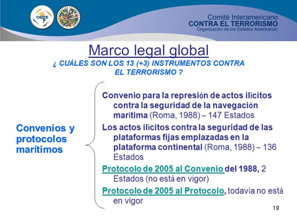 18 Marco legal global ¿ CU Á LES SON LOS 13 (+3) INSTRUMENTOS CONTRA EL TERRORISMO ? Convenios internacionales relacionados con la seguridad de la avi