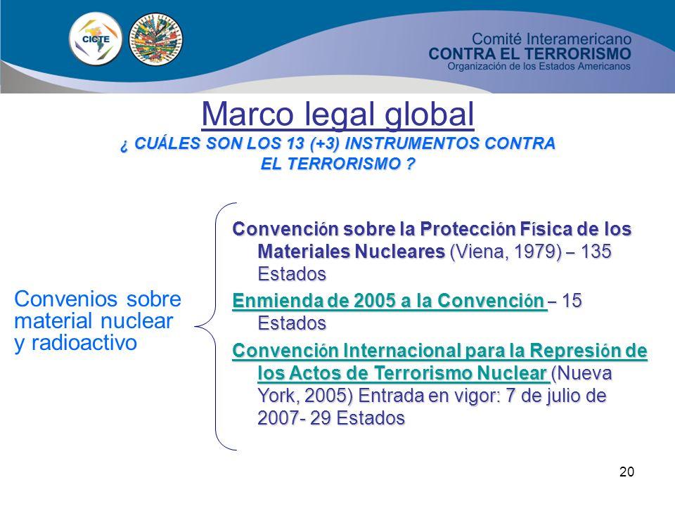19 Marco legal global ¿ CU Á LES SON LOS 13 (+3) INSTRUMENTOS CONTRA EL TERRORISMO ? Convenios y protocolos mar í timos Convenio para la represi ó n d