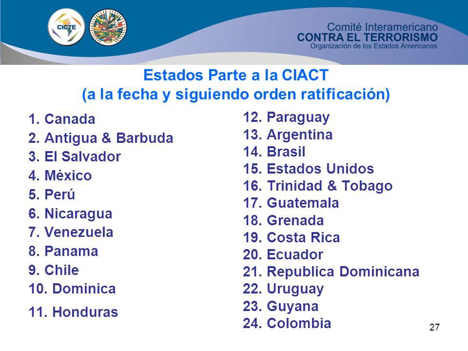 26 CONVENCIÓN INTERAMERICANA CONTRA EL TERRORISMO – (CIACT) 24 de los 34 Estados Miembros han ratificado ya la Convención Estructura: 23 artículos Obj