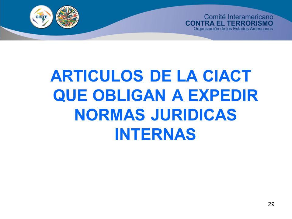 28 OBJETIVO CENTRAL DE LA CIACT: PREVENIR, CASTIGAR Y ERRADICAR EL TERRORISMO (Articulo 1) La adopción de medidas necesarias de carácter interno y, El