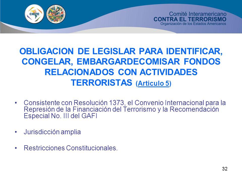 31 OBLIGACION DE LEGISLAR PARA PREVENIR, COMBATIR Y ERRADICAR LA FINANCIACION DEL TERRORISMO (Artículo 4) Consistente con Resolución 1373, Recomendaci