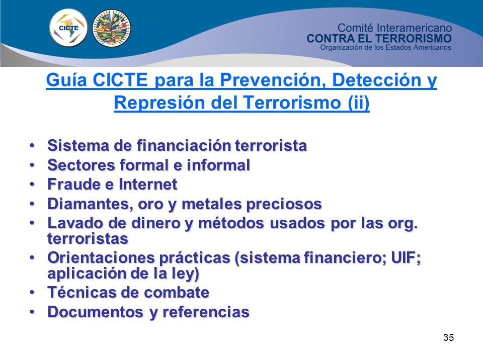 34 Aproximaciones conceptualesAproximaciones conceptuales Normativa Internacional (UN, OAS, FATF, EU) + ListasNormativa Internacional (UN, OAS, FATF,