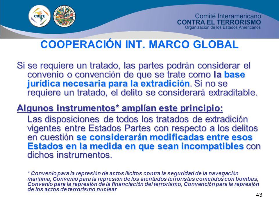 42 COOPERACIÓN INT. MARCO GLOBAL Utilizaci ó n de los mecanismos de cooperaci ó n: Las partes deben prestarse asistencia en actuaciones penales Los de