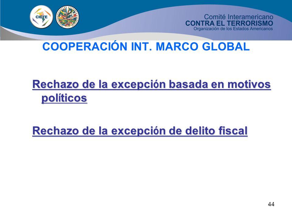 43 COOPERACIÓN INT. MARCO GLOBAL Si se requiere un tratado, las partes podr á n considerar el convenio o convenci ó n de que se trate como la base jur