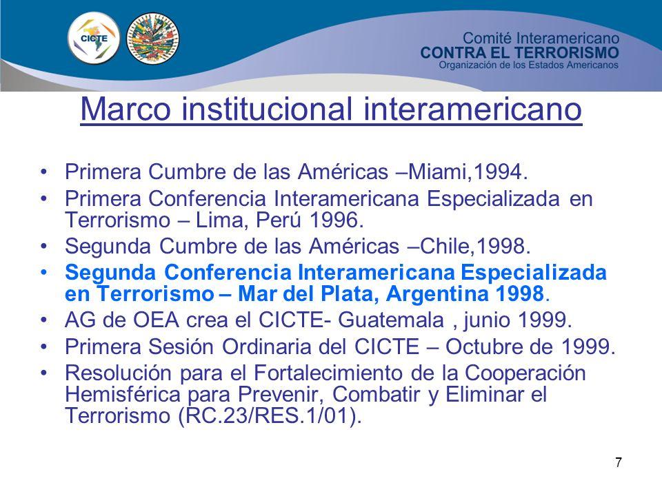 6 Marco institucional interamericano 11 de septiembre de 2001: Ataque terrorista a la sociedad abierta Terrorismo global vs Libertad y Democracia Impa