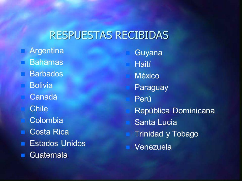 RESPUESTAS RECIBIDAS n n Argentina n n Bahamas n n Barbados n n Bolivia n n Canadá Chile Colombia Costa Rica n n Estados Unidos uatemala G uatemala Gu