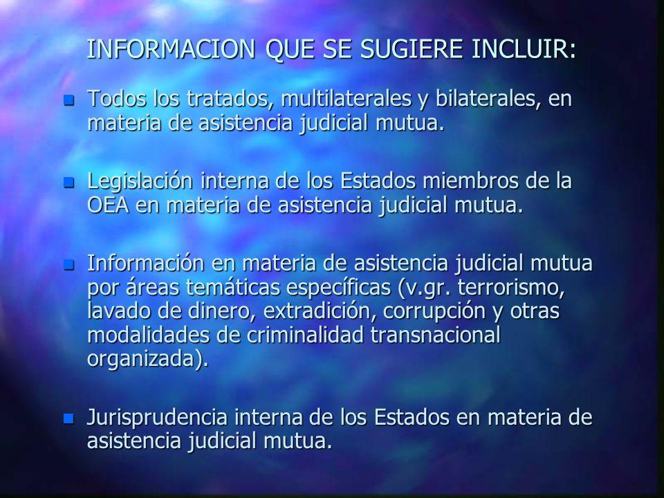 INFORMACION QUE SE SUGIERE INCLUIR: n Todos los tratados, multilaterales y bilaterales, en materia de asistencia judicial mutua. n Legislación interna