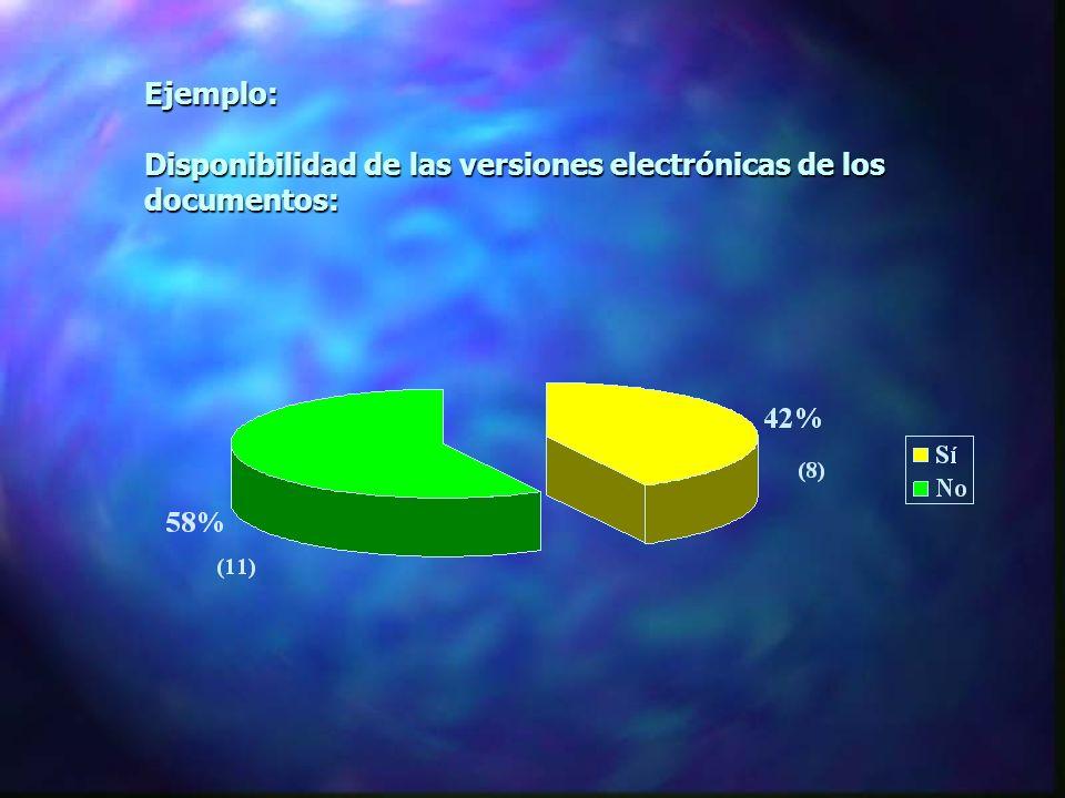 Ejemplo: Disponibilidad de las versiones electrónicas de los documentos: