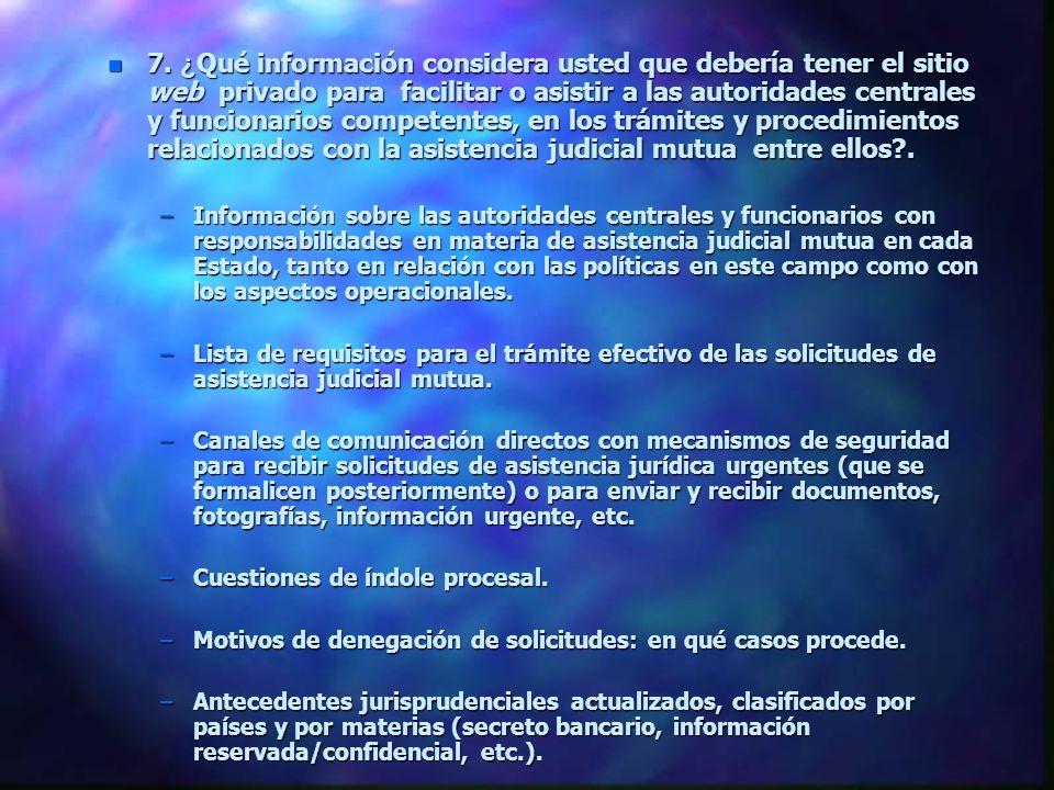 7. ¿ Qué información considera usted que debería tener el sitio web privado para facilitar o asistir a las autoridades centrales y funcionarios compet