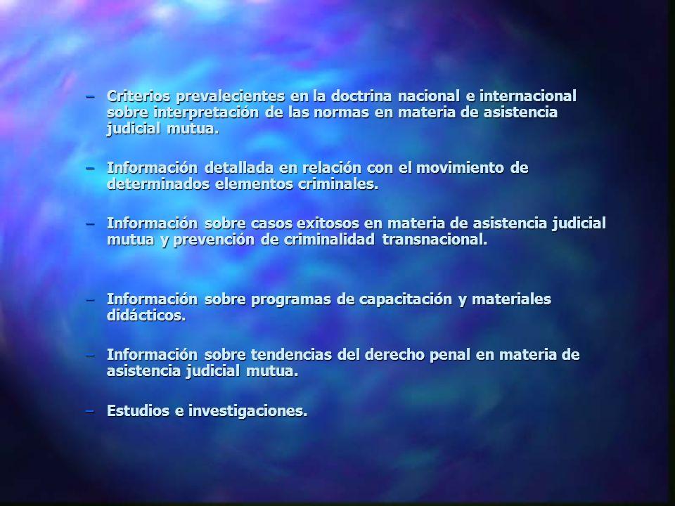 –Criterios prevalecientes en la doctrina nacional e internacional sobre interpretación de las normas en materia de asistencia judicial mutua. –Informa