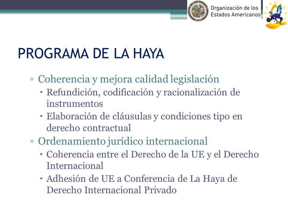 PROGRAMA DE LA HAYA Coherencia y mejora calidad legislación Refundición, codificación y racionalización de instrumentos Elaboración de cláusulas y con
