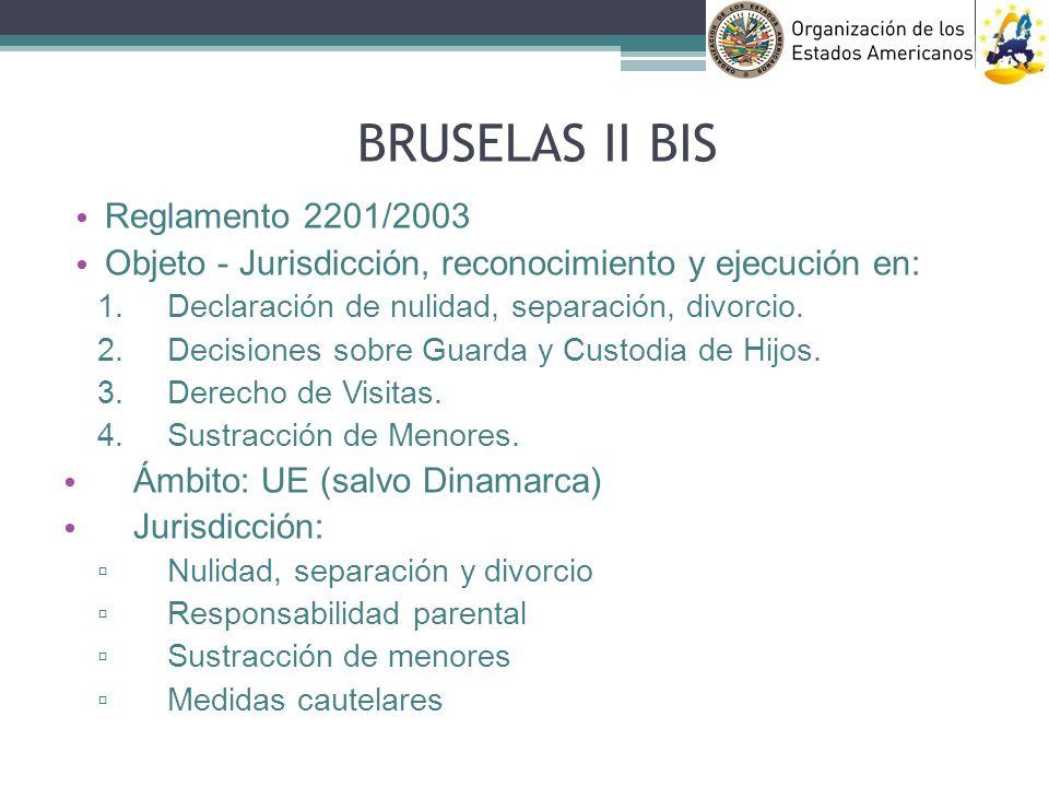 BRUSELAS II BIS Reglamento 2201/2003 Objeto - Jurisdicción, reconocimiento y ejecución en: Declaración de nulidad, separación, divorcio. Decisiones so