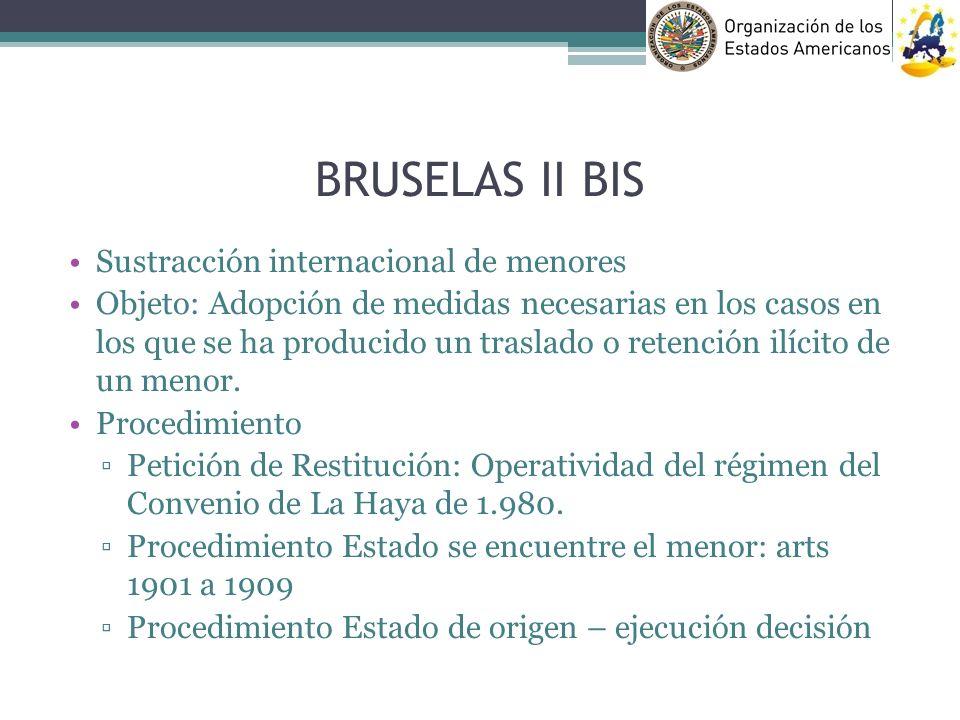 BRUSELAS II BIS Sustracción internacional de menores Objeto: Adopción de medidas necesarias en los casos en los que se ha producido un traslado o rete
