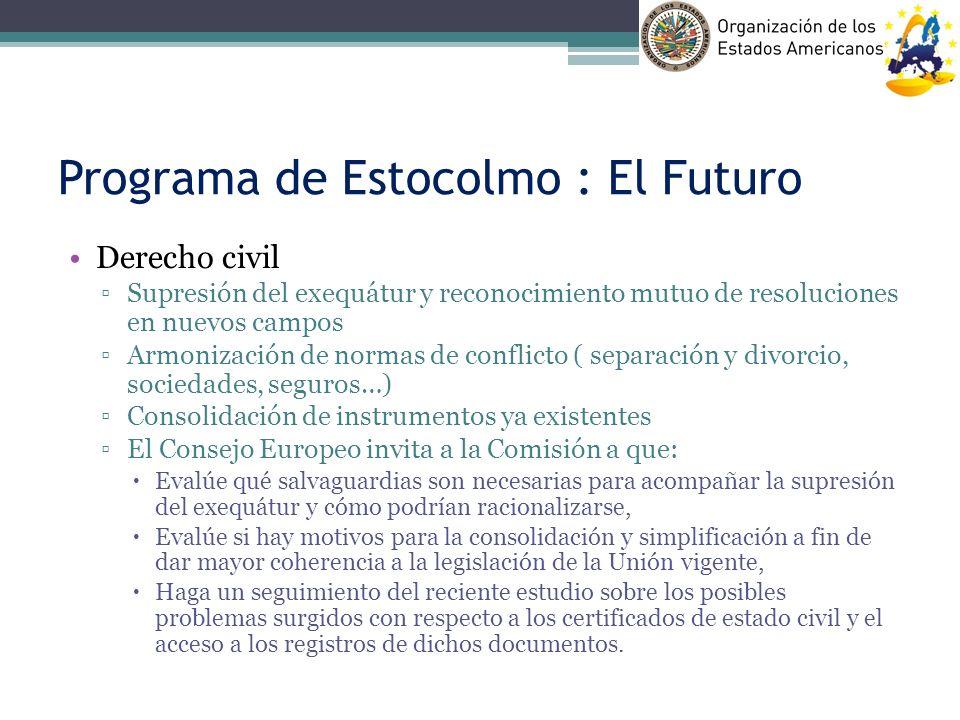 Programa de Estocolmo : El Futuro Derecho civil Supresión del exequátur y reconocimiento mutuo de resoluciones en nuevos campos Armonización de normas