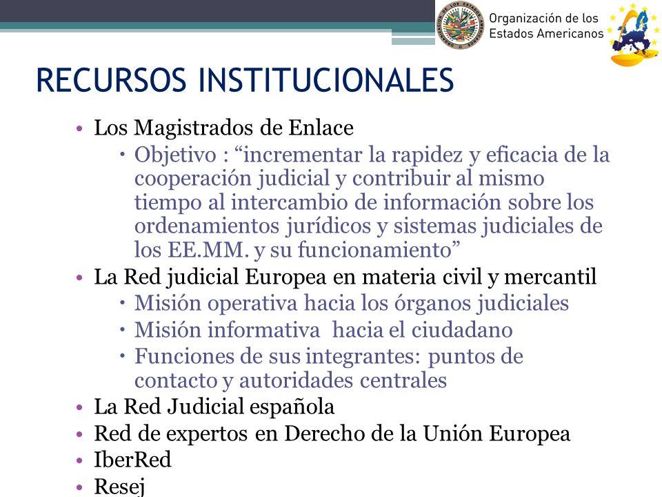 RECURSOS INSTITUCIONALES Los Magistrados de Enlace Objetivo : incrementar la rapidez y eficacia de la cooperación judicial y contribuir al mismo tiemp