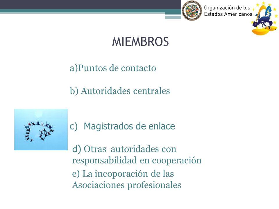 MIEMBROS a)Puntos de contacto b) Autoridades centrales Magistrados de enlace d) Otras autoridades con responsabilidad en cooperación e) La incoporació