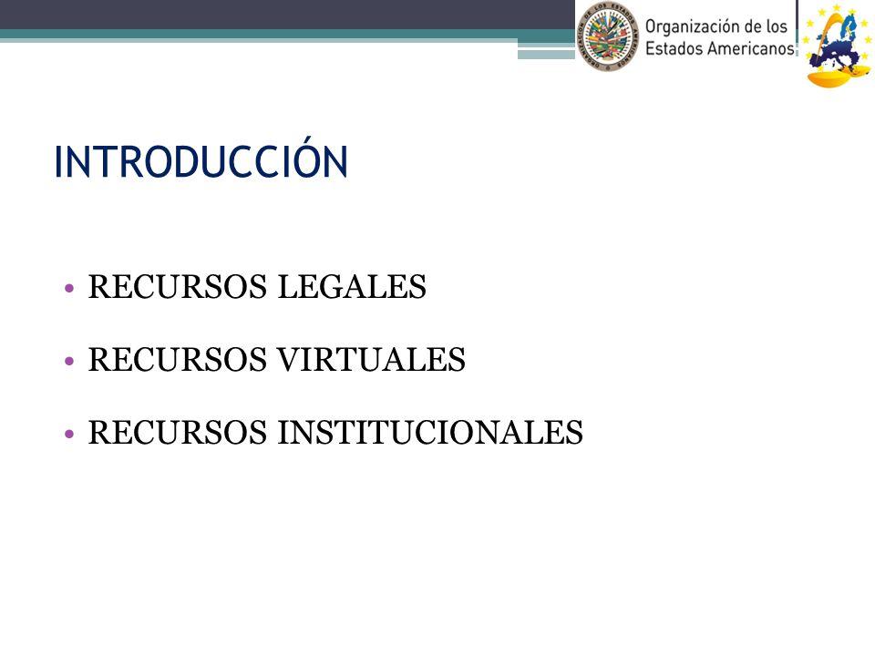 INTRODUCCIÓN RECURSOS LEGALES RECURSOS VIRTUALES RECURSOS INSTITUCIONALES