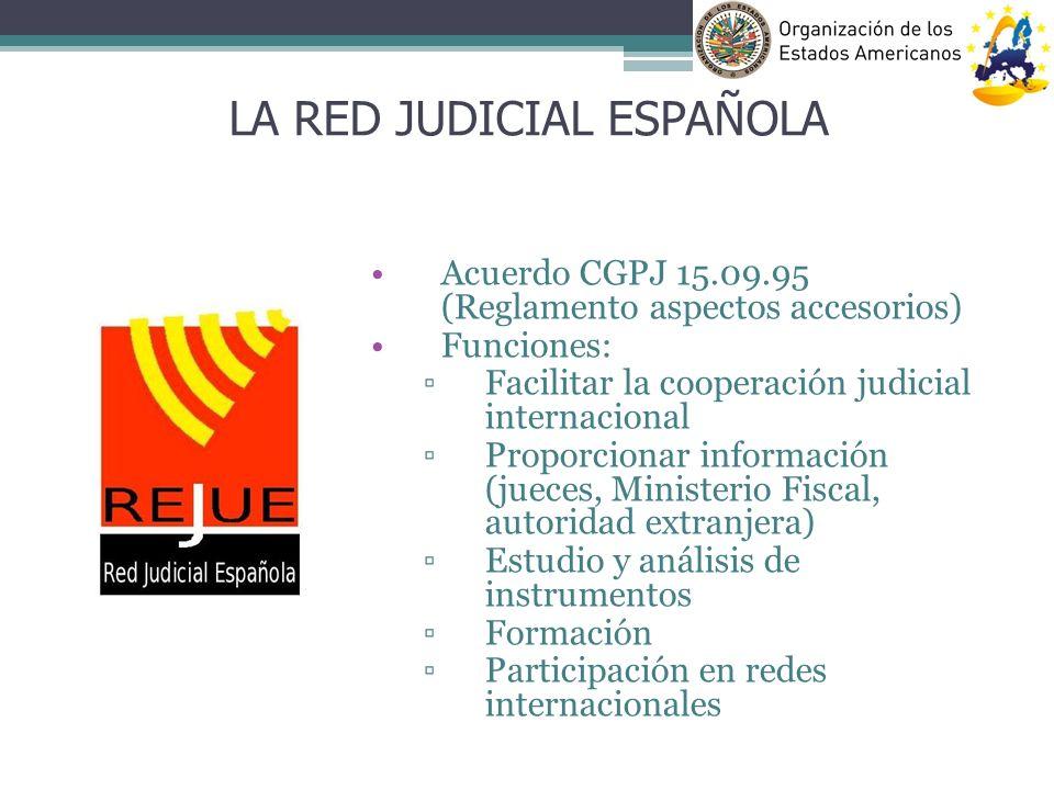 Acuerdo CGPJ 15.09.95 (Reglamento aspectos accesorios) Funciones: Facilitar la cooperación judicial internacional Proporcionar información (jueces, Mi