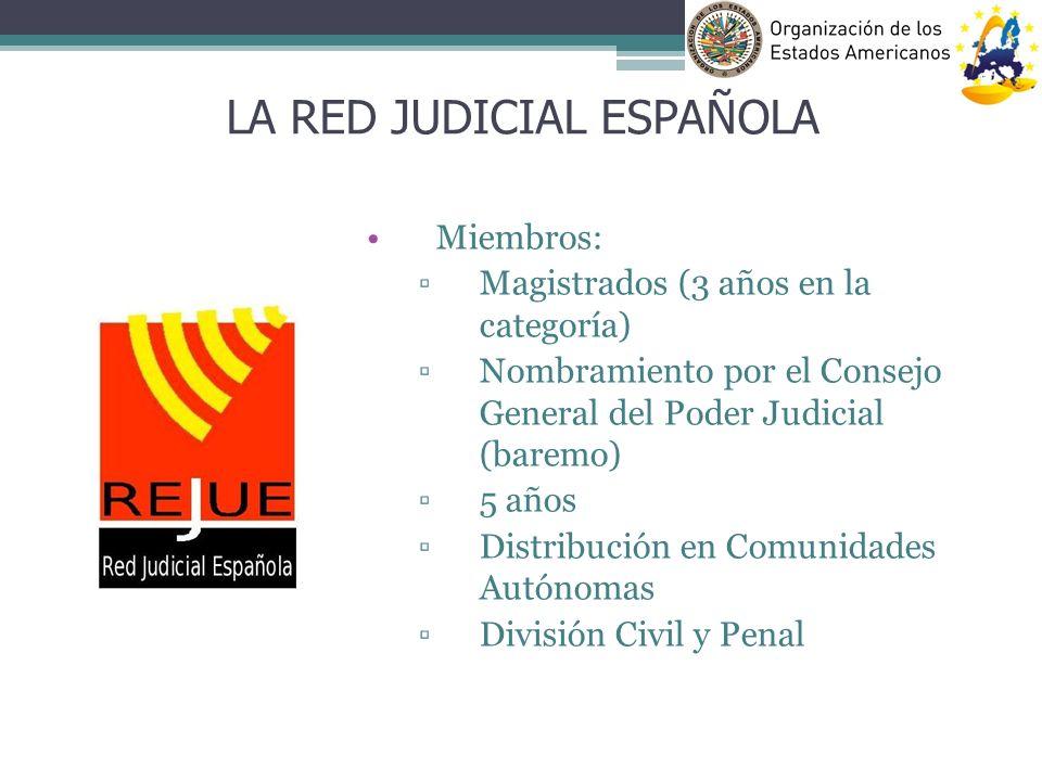 Miembros: Magistrados (3 años en la categoría) Nombramiento por el Consejo General del Poder Judicial (baremo) 5 años Distribución en Comunidades Autó