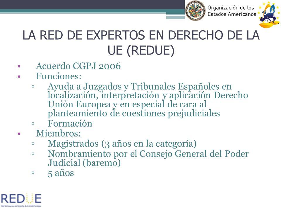 Acuerdo CGPJ 2006 Funciones: Ayuda a Juzgados y Tribunales Españoles en localización, interpretación y aplicación Derecho Unión Europea y en especial