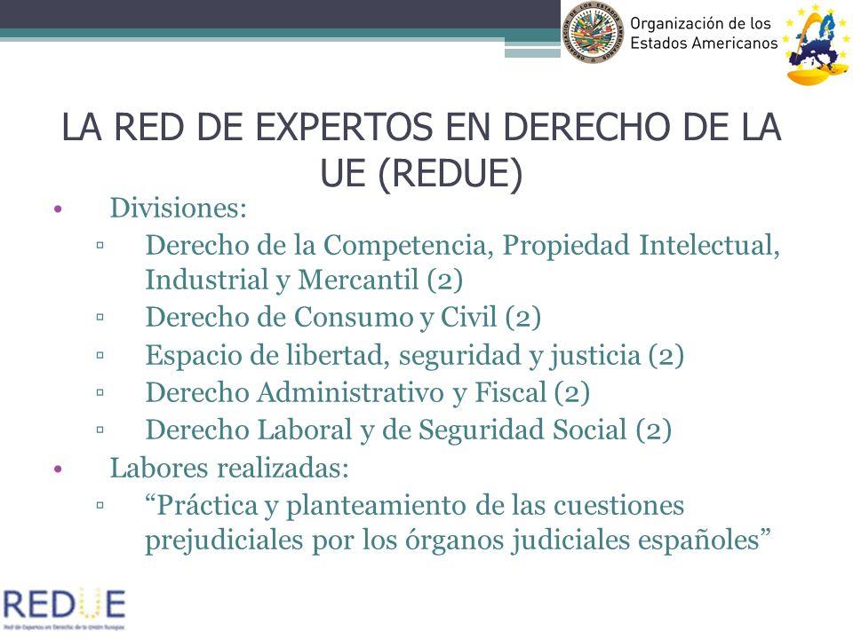 Divisiones: Derecho de la Competencia, Propiedad Intelectual, Industrial y Mercantil (2) Derecho de Consumo y Civil (2) Espacio de libertad, seguridad