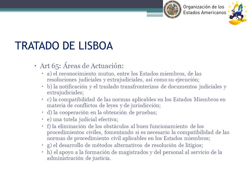 TRATADO DE LISBOA Art 65: Áreas de Actuación: a) el reconocimiento mutuo, entre los Estados miembros, de las resoluciones judiciales y extrajudiciales